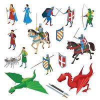 ilustração vetorial de coleção de ícones isométricos medievais vetor