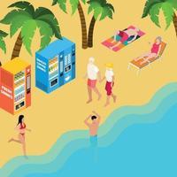ilustração em vetor ilustração isométrica férias na praia