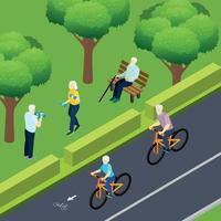 Ilustração isométrica ilustração vetorial aposentados atividade ao ar livre vetor