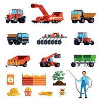 conjunto de ícones planos de cultivo de batata vetor
