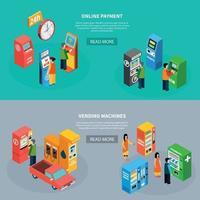 máquinas de venda automática banners isométricos definir ilustração vetorial vetor