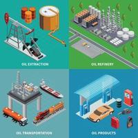 ilustração em vetor conceito 2x2 da indústria de petróleo