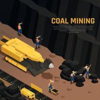 ilustração em vetor composição isométrica de mineração de carvão