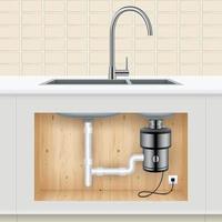 ilustração em vetor triturador de resíduos alimentares de pia de cozinha