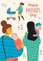 Feliz Dia das Mães. Ilustração vetorial com mulheres e crianças.