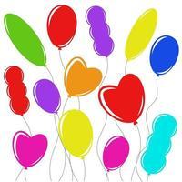 conjunto de balões isolados coloridos planas no varal. desenho simples em um fundo branco vetor