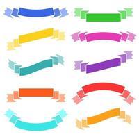 conjunto de bandeiras isoladas de fitas coloridas planas. sobre um fundo branco. adequado para o design vetor