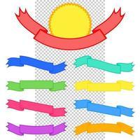 conjunto de fitas planas coloridas bandeiras isoladas em fundo branco e transparente vetor