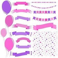 conjunto de balões isolados liso-de-rosa e roxos em cordas e guirlandas de bandeiras. um conjunto de fitas de banners de diferentes formas. fundo em forma de confete. vetor