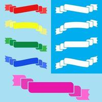 conjunto de banner colorido liso isolado de fita sobre fundo azul vetor