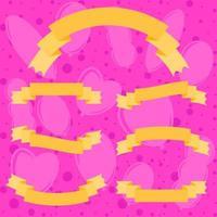 conjunto de bandeiras isoladas de fita colorida plana. em um fundo rosa com silhuetas de balões. adequado para design vetor