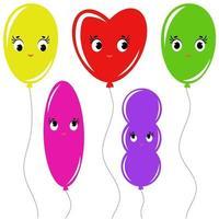 conjunto de desenhos animados de balões isolados coloridos planas nas cordas. desenho simples em um fundo branco vetor