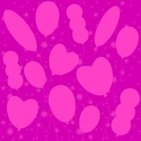 silhuetas monocromáticas planas de balões em um fundo rosa. adequado para cartão de felicitações. vetor
