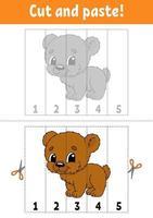 aprendendo números 1-5. corte e cole. Personagem de desenho animado. planilha de desenvolvimento educacional. jogo para crianças. página de atividades. ilustração em vetor cor isolada.