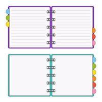 abra o bloco de notas para anotações. assunto no escritório, em casa. ilustração vetorial isolada no fundo branco. vetor