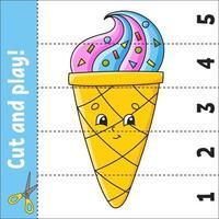aprendendo números 1-5. cortar e jogar. planilha de educação. jogo para crianças. página de atividades de cores. quebra-cabeça para crianças. enigma para a pré-escola. ilustração vetorial. estilo de desenho animado. vetor
