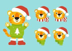 símbolo do tigre com um chapéu de inverno. Personagem de desenho animado. ilustração vetorial colorida. feliz Ano Novo e feliz Natal. isolado na cor de fundo. elemento de design. vetor