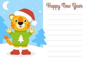 cartão da cor do presente. tigre simbol em um chapéu de Papai Noel. personagem de desenho animado bonito. feliz Ano Novo e feliz Natal. estilo simples. ilustração vetorial. vetor