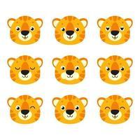 tigre fofo. animal selvagem. Personagem de desenho animado. ilustração vetorial colorida. isolado no fundo branco. elemento de design. modelo para seu projeto, livros, adesivos, cartões. vetor