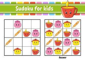 tema louça. sudoku para crianças. planilha de desenvolvimento de educação. Personagem de desenho animado. página de atividades de cores. jogo de puzzle para crianças. treinamento de pensamento lógico. ilustração isolada do vetor. vetor