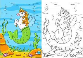 bonito sereia unicórnio. cavalo mágico de fadas. página do livro para colorir para crianças. estilo de desenho animado. ilustração vetorial isolada no fundo branco. vetor