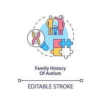 ícone do conceito de história do autismo familiar. ilustração de linha fina de ideia abstrata de fator de risco de autismo. Herança de mutações de DNA. afetam o desenvolvimento do cérebro. desenho de cor de contorno isolado vetor. curso editável vetor
