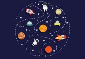 astronauta com ilustração de fundo de foguete para explorar o espaço sideral vetor