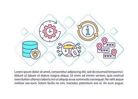 ícones de linha de conceito de mercado online com texto. modelo de vetor de página com espaço de cópia. folheto, revista, elemento de design de boletim informativo. ilustrações lineares de estratégia de mercado em branco