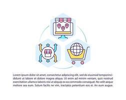 ícones de linha de conceito de mercado online com texto. modelo de vetor de página com espaço de cópia. folheto, revista, elemento de design de boletim informativo. ilustrações lineares da plataforma de negócios em branco