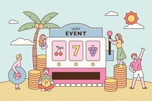 cartaz de promoção de evento de sorte. as pessoas esperam boa sorte em torno de uma máquina gigante de jackpot ilustração em vetor mínimo estilo design plano.
