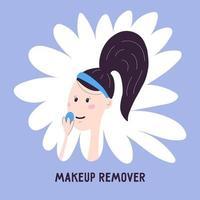 mulher remove o ícone de maquiagem isolado no fundo. ilustração vetorial sobre como remover cosméticos no estilo de desenho de mão dos desenhos animados. cuidados com a pele facial coreana. vetor