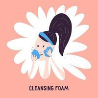 mulher lavando o ícone do rosto com espuma de limpeza isolada no fundo. ilustração vetorial sobre cosméticos de limpeza dupla no estilo de desenho de mão dos desenhos animados. cuidados com a pele facial coreana. vetor