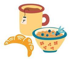 café da manhã saudável. caneca de chá, mingau com frutas e um croissant. menu clássico com muesli. conceito de comida caseira e saudável, modo de manhã. ilustração vetorial para alimentos, nutrição, conceito de menu vetor