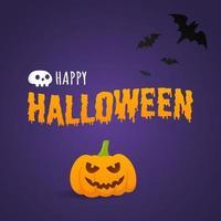 banner de cartão postal de texto feliz dia das bruxas com cara assustadora na abóbora vetor