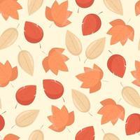 folhas de outono amarelas e laranja padrão sem emenda, de fundo vector em estilo simples