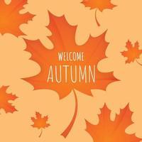 folha de outono com texto bem-vindo outono vetor