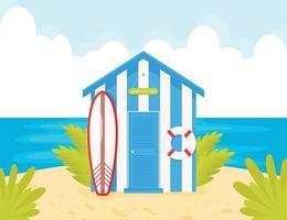 cabana de praia azul com surf e bóia salva-vidas vetor