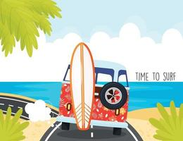 hora de surfar, van vermelha dirigindo para a praia vetor