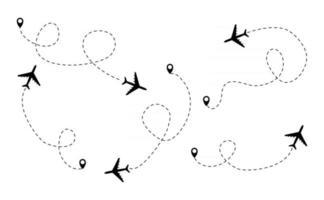 a rota pontilhada do avião alinha o caminho do avião. voando com uma linha tracejada a partir do ponto de partida e ao longo do vetor de caminho livre