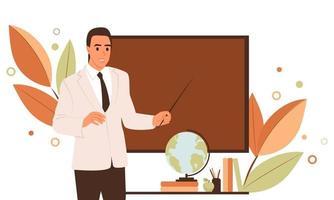 jovem professor na lousa na escola. conceito de aprendizagem. ilustração vetorial plana em cores de outono vetor