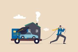 dívida, custo de vida ou despesas a pagar, obrigação financeira para o conceito de estilo de vida, empresário exausto puxa o carrinho de carga com hipoteca da casa, pagamento de carro, empréstimo educacional e dívida de cartão de crédito vetor