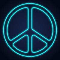 design de luz de néon do símbolo da paz. ilustração vetorial. vetor