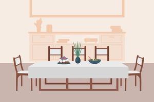 ilustração em vetor cor plana luxuosa sala de jantar
