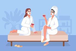 dia de spa em casa ilustração vetorial plana vetor