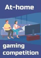 em casa modelo de vetor plano de cartaz de competição de jogos