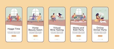 modelo de vetor plano de tela de aplicativo móvel para festa em casa