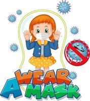 use um design de fonte de máscara com uma garota usando máscara médica em fundo branco vetor