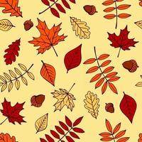 padrão sem emenda com bolotas de mão desenhada e folhas de outono em laranja, bege, marrom e amarelo. perfeito para papel de parede, papel de presente, preenchimentos de padrão, plano de fundo de página da web, cartões de outono. vetor