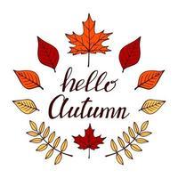 conjunto de letras de mão desenhada com elementos decorativos, folhas de outono. texto Olá outono no fundo branco. ilustração vetorial. perfeito para impressões, folhetos, banners, convites vetor