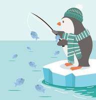 pesca de pinguim no vetor ártico do pólo norte